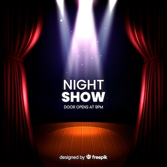 Night show with open doors and spotlights