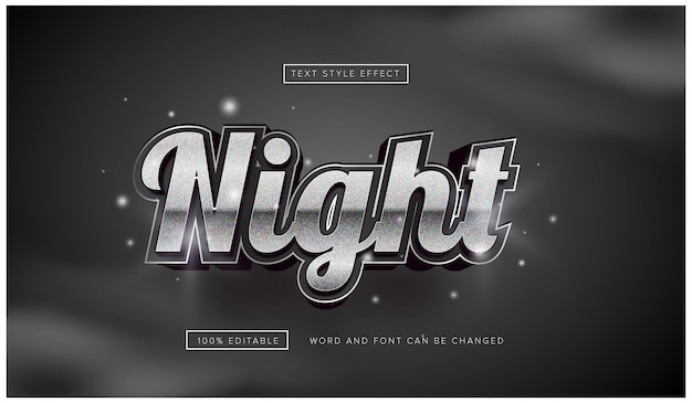 Night silver text effect editable