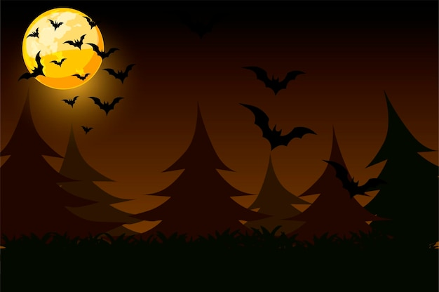 Night simple background with moon and bats.