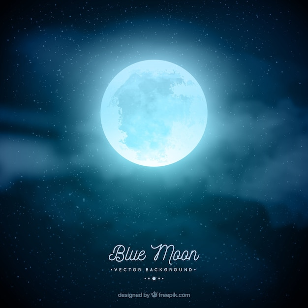 Night Sky Background With Moon In Blue Tones
