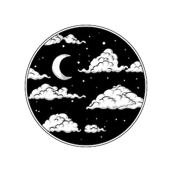 Night sky in circle