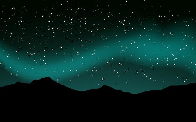 山のシルエットが付いている星の完全な夜空