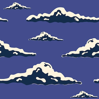 밤 하늘 손은 구름과 함께 매끄러운 질감을 그렸습니다. 다채로운 벡터 일러스트 레이 션.