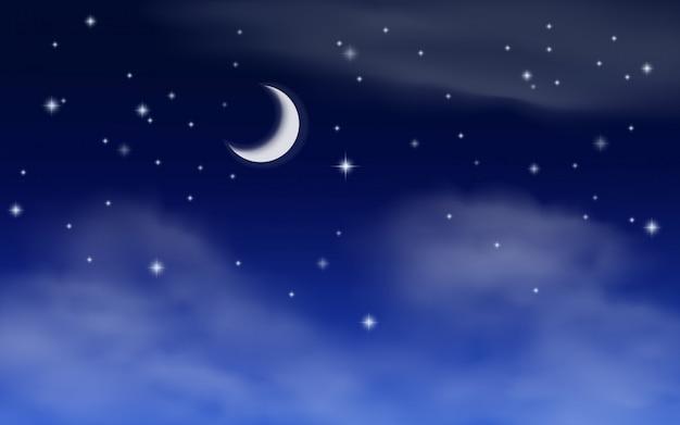 초승달과 별 밤 하늘 그림
