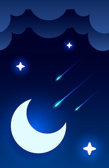 Night sky illustration with half moon, clouds and stars