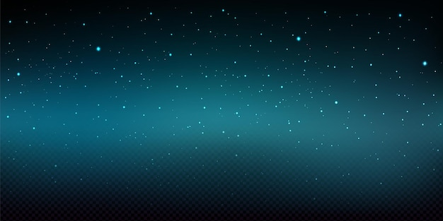 Night sky illustration with shiny stars and snowfall isolated
