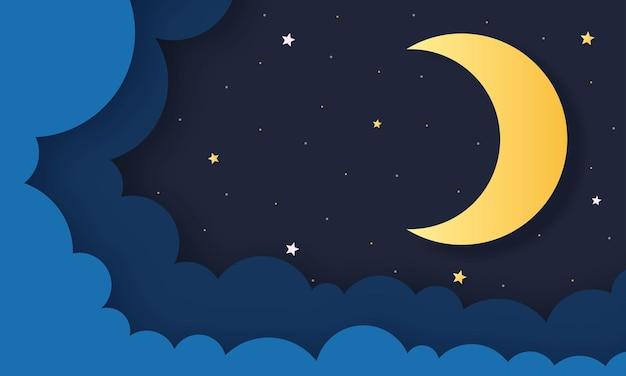 밤하늘. 자정에 달, 별과 구름. 종이 아트 스타일.