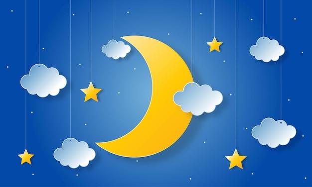 밤하늘. 자정에 달, 별과 구름. 종이 예술