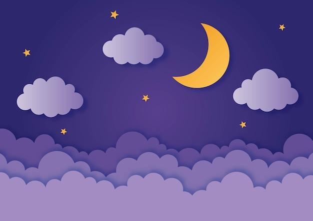 Night sky moon stars and clouds in midnight paper art style