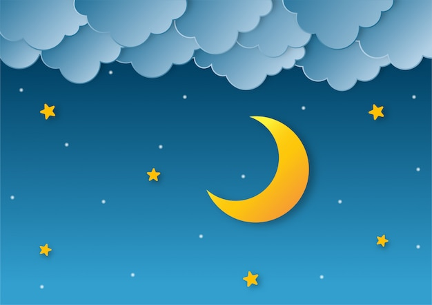 Night sky. moon, stars and clouds in midnight. paper art style.