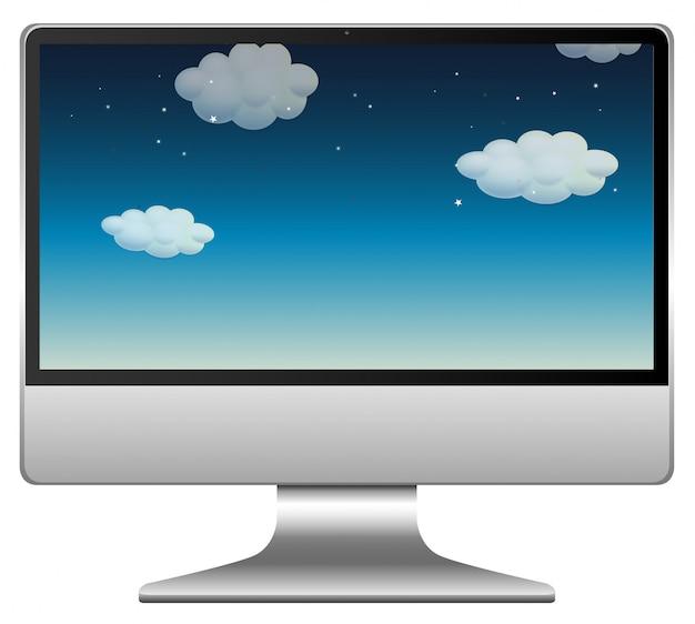 コンピューターの背景に夜空のシーン