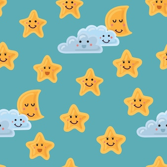 Night sky seamless pattern in . cute stars. moon and cloud with smiling faces
