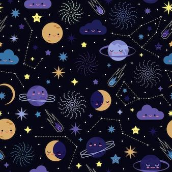 Night sky seamless pattern design