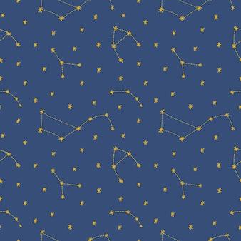 青い背景の上の漫画フラット子供っぽいスタイルの星と夜空のシームレスなパターン