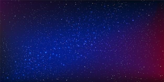 Векторный фон ночного неба со звездами и звездной пылью в освещении пространства