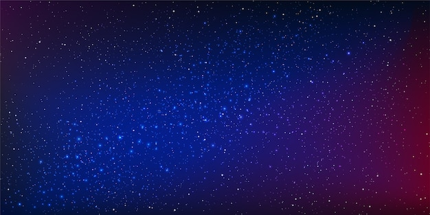 Night sky vector background with stars and stardust in illuminating the space