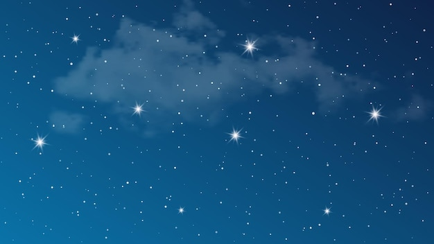 雲と多くの星と夜空。深い宇宙のスターダストと抽象的な自然の背景。ベクトルイラスト。
