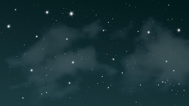 Night sky with clouds and many stars. abstract nature background with stardust in deep universe. vector illustration.