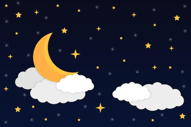 Night sky with a crescent moon shiny stars and clouds