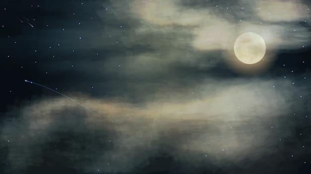 두꺼운 구름에 보름달 밤 하늘