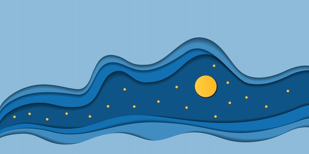 Night sky with full moon and stars on abstract blue waves