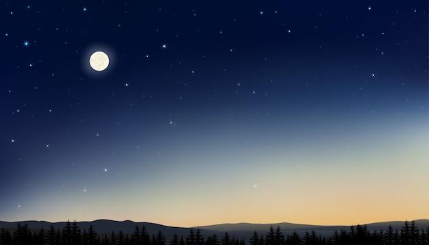 Night sky with full moon and stars shining