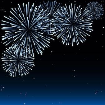 Ночное небо с праздничным фейерверком