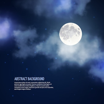 Night sky with moon and clouds abstract background. romantic bright nature, moonlight and galaxy, vector illustration