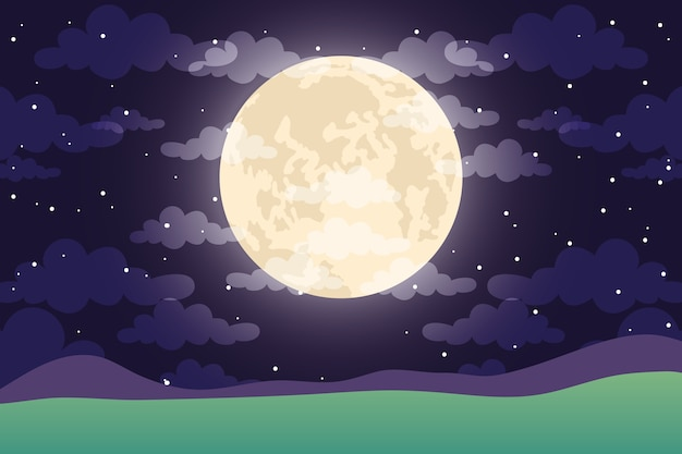 Night sky with moon and clouds scene