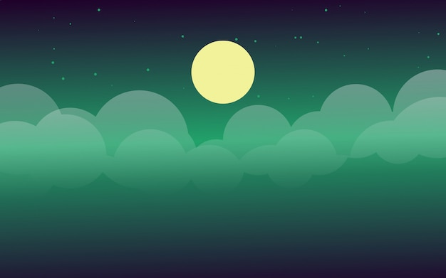 Night sky with the moonlight vector