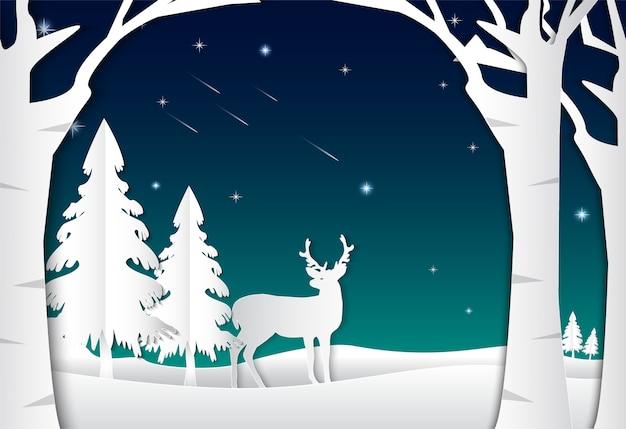 Night sky with star comet and deer
