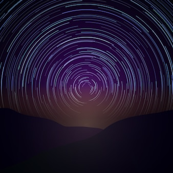 Night sky with star trails. vector milky way. astronomy time, natural beauty nature illustration