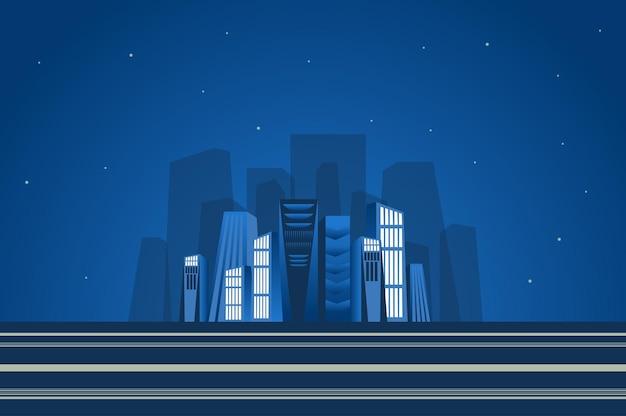 Ночной пейзаж небоскребов в плоском стиле