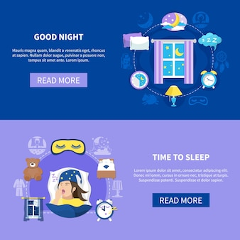 Night sleeping habits bedroom accessories dreams 2 flat horizontal banners with read more button design