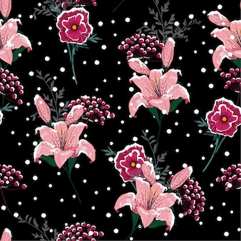 Night snow blooming lily flowers ,seamless pattern vector