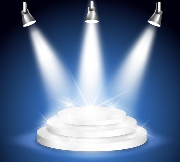 ナイトステージパフォーマンス。光とスポットライト、プロジェクションとパーティーとエンターテインメント。
