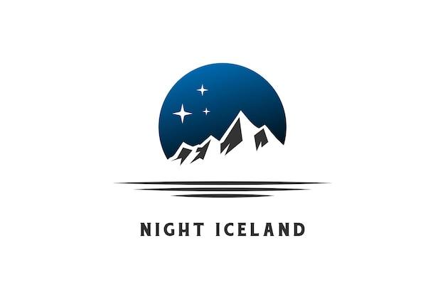 야외 모험 로고 디자인 벡터를 위한 얼음 눈 산 언덕이 있는 밤 별