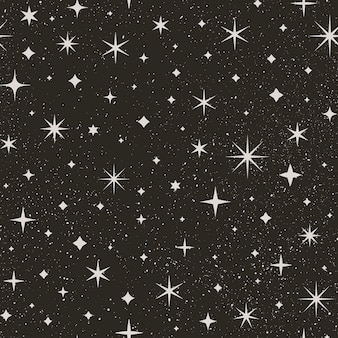 Night starry sky seamless pattern. space vector background. abstract black texture with star and white dots.
