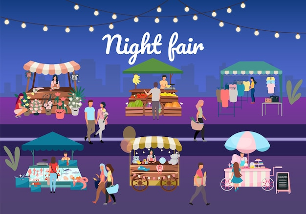 Night street fair flat illustration. outdoor market stalls, summer trade tents with sellers and buyers. flowers, farmers food and products, clothes city kiosks. local urban shops with lettering