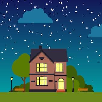 家のクローズアップの木、茂み、雲、フラットな漫画のあるナイトストリート。都会の小さな町の風景。星空の下の一軒家。郊外の村の近所の街並み