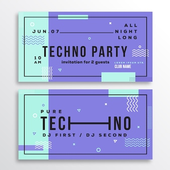 Night techno party club invitation card or flyer template.