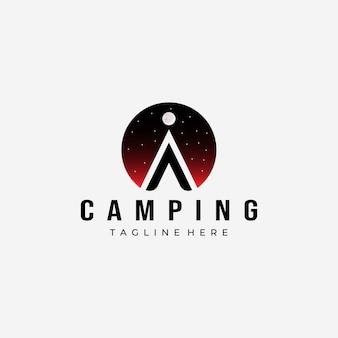 밤 텐트 캠핑 로고 벡터 디자인 빈티지 일러스트 아이콘