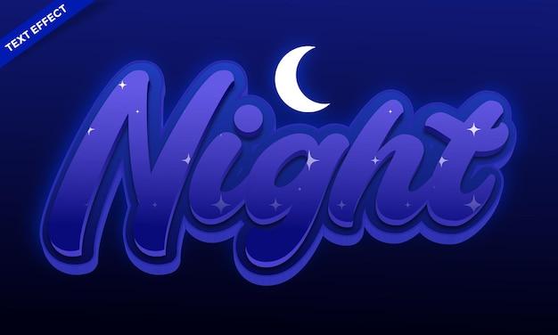 夜のテキスト効果のデザインベクトル