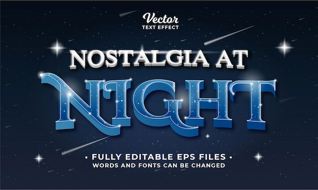 Night text effect editable eps cc words and fonts can be changed