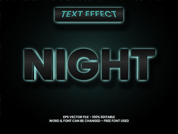 夜のテキスト効果スタイル編集可能なテキスト効果ダークライトスタイル