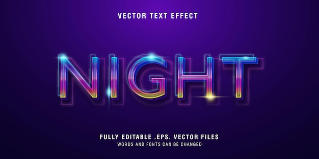 Night text style effect editable