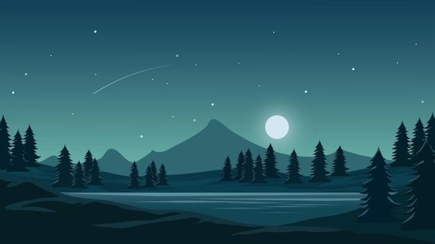 Ночная иллюстрация с луной и горой