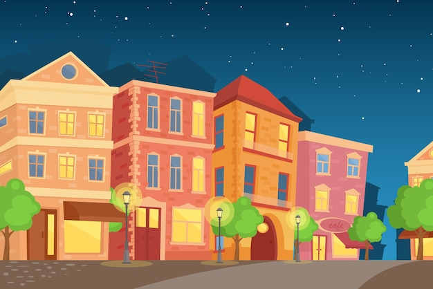 Night town in cartoon style. street with cute houses