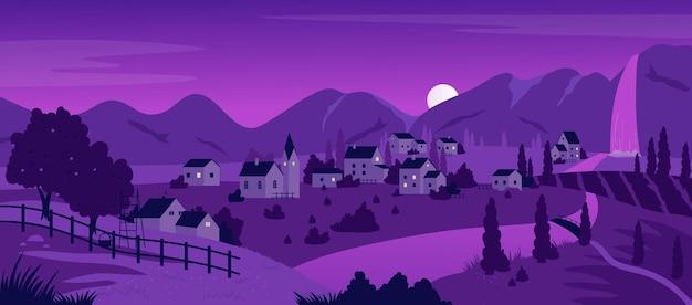 紫の山の夜の町や村夏の風景ファームは川沿いの果樹園を収容します