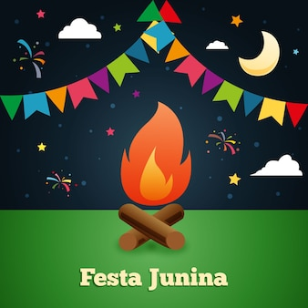 Night traditional festa junina background